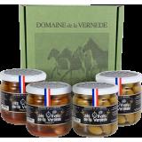 Coffret Olives Picholines 2 Nature 200g + 2 Piment 200g