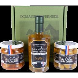 Coffret Trio 1 Huile -2 Olives - 1 bouteille de 350ml + 2 Pots d'Olives 200gr