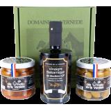 Coffret Trio 1 Vinaigre Balsamique -2 Olives - 1 bouteille de 350ml + 2 Pots d'Olives 200gr