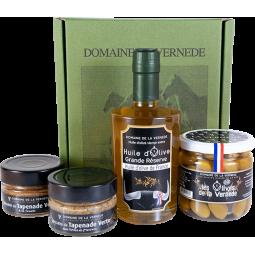Coffret Quatro 1 Huile - 1 Olive Nature - 2  Spécialités de Tapenade Vertes H. de Provence et Tomate