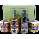 Coffret Quatro: 1 Huile d'Olive-1 Vinaigre Balsamique - 2 pots d'Olives -
