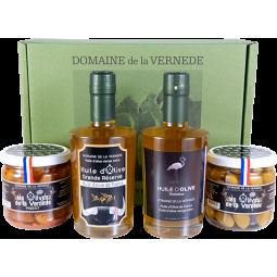 Coffret Quatro: 1 Huile Grande Réserve-1 Huile Picholine - 2 pots d'Olives -